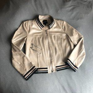 NEW Insight Champagne Suede Bomber Jacket